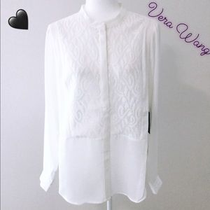 Simply Vera Wang Snow White NWT L Lace Trim Blouse